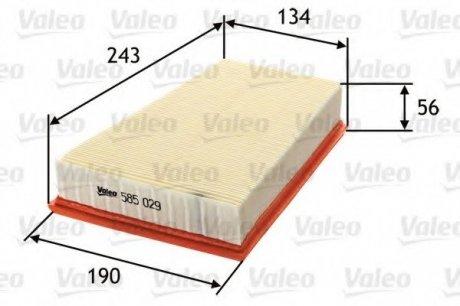 585029 Valeo Фильтр воздушный (плоский)