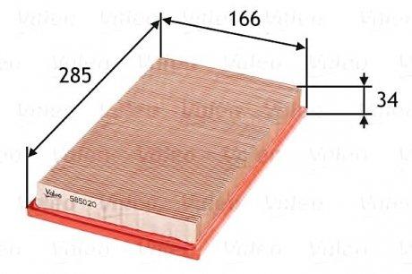 585020 Valeo Фильтр воздушный (плоский)