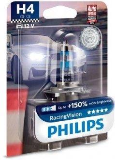 12342RVB1 PHILIPS Лампа накаливания H4 12V 60, 55W P43t-38 RacingVision +150 more light (пр-во Philips)